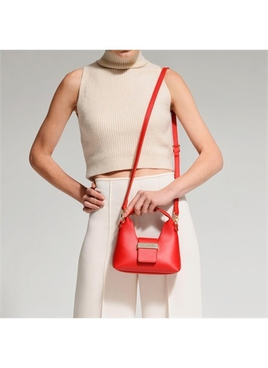 Black Ribbon Aksesuar Detaylı Askılı Mini Çanta Kırmızı